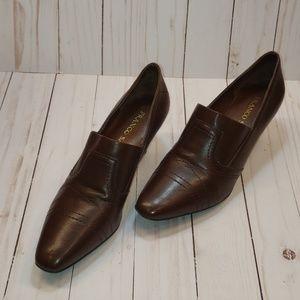 Franco Sarto Muesli Brown Leather Kitten Heels